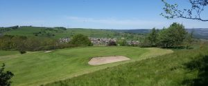 Looking down at the 4th green at West Bradford